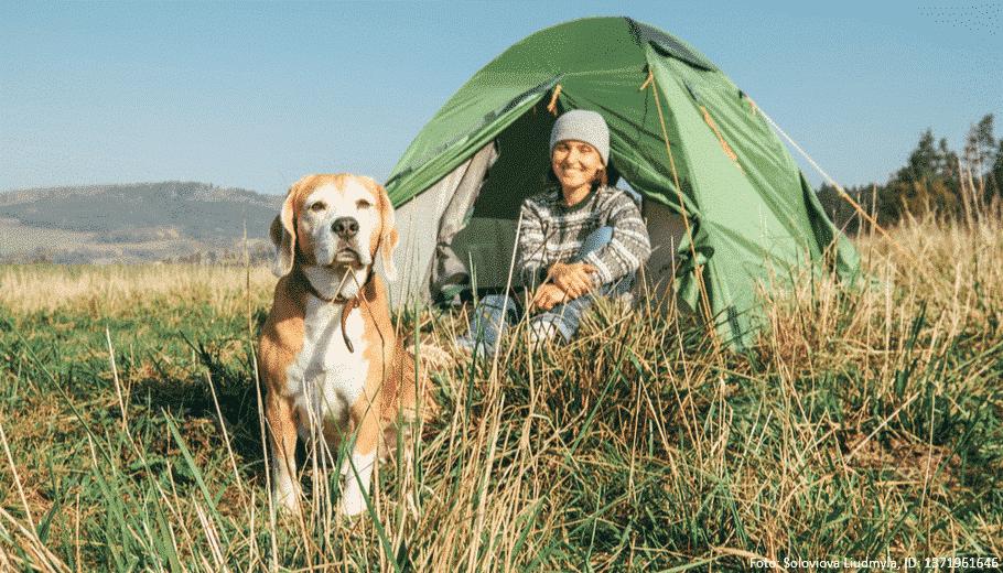 Hund und Frauchen sitzen vor einem Zelt